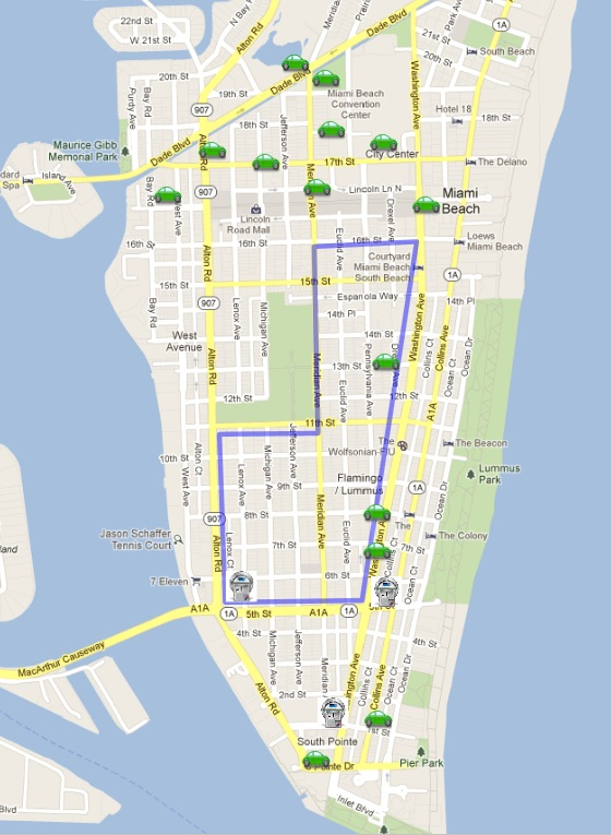 Miami Beach Parking Lot Map